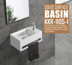 浴室の人工的な石造りの固体表面の壁は洗面器191031をハングさせた