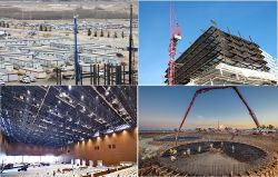 Dunbang tem um profissional da equipe de construção no estrangeiro. Construção/Fundação a construção do prédio/Construção decoração...
