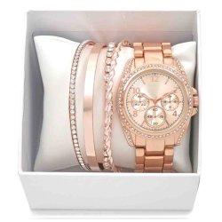 De dames vormen het Horloge van de Band van het Metaal van Juwelen met de Vastgestelde Doos van de Gift van 4 Armband