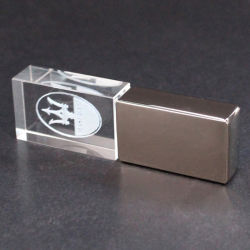 Unidade Flash USB personalizados de cristal LED azul casamento dom Pen Drive USB relâmpagos Pen Drive USB