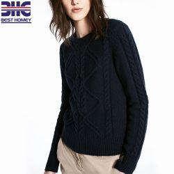 Câble classique en tricot Pulls d'hiver Crew Neck épais à manchon long pour les femmes de couleur de la marine