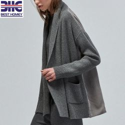 Le cachemire col châle en tricot de velours de soie Fashion chandail Cardigan