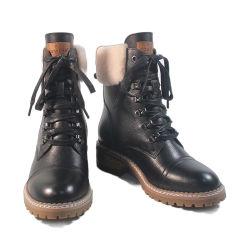 2020 Novo Square Calcanhar Senhoras Botas Moda couro Calçado de Inverno Mulheres Botas Botas de tornozelo mulher