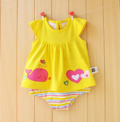 여름 대부분의 유행 편리한 유아 착용 면 여자 아기 옷