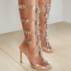 女性のハイヒールのサンダルの膝の高いボヘミアの剣闘士のダイヤモンド結婚式の花嫁の靴Esg16138