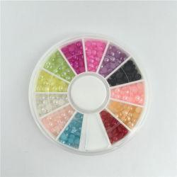 Mix couleur 3D Pearl Perles d'ongles nail art Roue, DIY Manucure décorations d'ongles