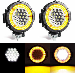 مصباح العمل المستدير مقاس 7 بوصات، 57 واط، ضوء مصباح الضوء الأبيض مع ضوء كهرماني ضوء عمل أضواء النهار لأضواء أضواء أضواء أضواء أضواء أضواء أضواء أضواء أضواء أضواء أضواء أضواء أضواء أضواء أضواء أضواء أضواء أضواء أضواء أضواء للسيارات الرياضية متعددة الاستعمالات غير الممهدة