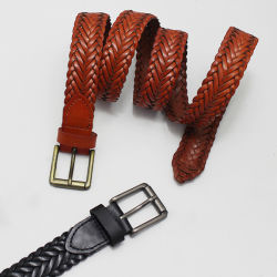 La llegada de nuevos colores de moda Unisex trenzado Alemania servidumbre correas de cuero