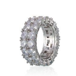 9mm zwei Reihen-rundes Silber/Gold überzogener Kubikzirconia-Hochzeits-Band-Ewigkeit-Ring für Mann-Frauen Esg14233