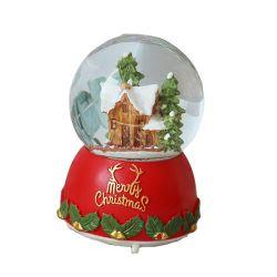 Пластмассовый шарик Crystal вращающийся музыку в салоне рождественские украшения Polyresin снег земного шара