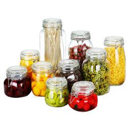 100% 밀봉된 음식 저장을%s 금속 걸쇠를 가진 유리 그릇 물 또는 포도주 또는 음료 또는 음식 또는 과일 주스 /Storage /Cup/Spirits 병