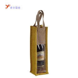 Natürlicher Flaschen-Wein-Jutefaser-Beutel mit freiem Fenster-Leinwand-Wein-Beutel