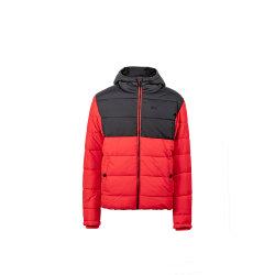 El contraste de los hombres/sólido relleno de chaqueta con capucha