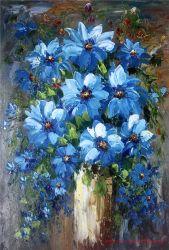 Moderno artesanais azul decorativa petróleo pesado Flower pintura a óleo