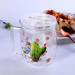 Duplo Pyrex Cup/transparente chávena de café/alto de desenhos animados de borossilicato vidro xícara de água