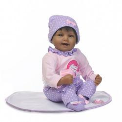 Реальной жизни 22дюйма 55см возрождается Baby dolls мягкая силиконовая реалистичных смотреть куклы для новорожденных девочек принцессы кожи черного цвета индийского африканском стиле детского кукла игрушки для детей в возрасте 3+