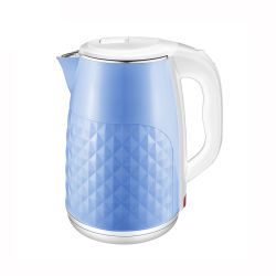 2.5L 青色 2 層コードレス電気水ケトルプラスチック ケトル