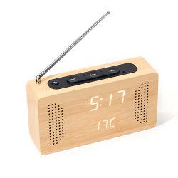 Radio di legno di FM del Portable dell'hotel multifunzionale Kh-Wc014 con l'orologio di temperatura del LED Digital