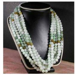 6mm Natuurlijke 100% een Parel van het Jadeïet van de Jade parelen Halsband 21 Duim
