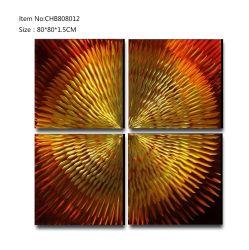 Resumen de gradiente de oro artesanal de metal 3D de arte de la pared interior de aceite pintura decorativa
