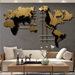 금속 철 실내와 가정 훈장을%s 황금 지도 벽 예술