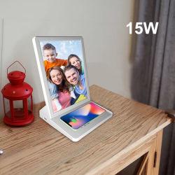 2021 ワイヤレス充電器スタンド付きの新しい WiFi デジタルフォトフレーム 9.7 インチ HD IPS スクリーンを備えたデジタルサイネージビデオプレーヤー