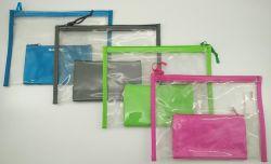 7-1/2X10인치 투명 PVC 펜슬 파우치/내부 폴리에스테르 포켓