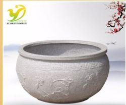 Yj-HP-008 fabricados na China Auspicious Auspicious Lotus Leaf Grande jarra de flores feitas por pulverização de tinta de granito para escultura de pedra de Arquitectura Paisagista Jardim do Artesanato