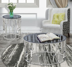 Gehard glas woonkamer meubilair met glanzende roestvrijstalen poten Koffietafel