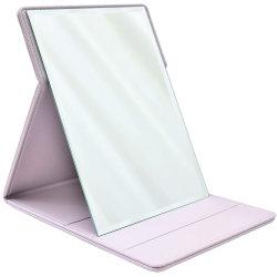 Il colore rosa ha piegato lo specchio di cuoio Pocket piegante levantesi in piedi dell'unità di elaborazione di abitudine cosmetica da tavolo di corsa