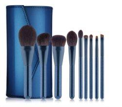 9 PCS de alto grau de pó luminoso azul escuro da pega da escova de maquiagem