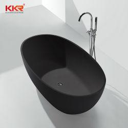 Forma de óvalo Corian Superficie sólida piedra independiente baño negro mate