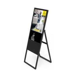 43/49/55 인치 디지털 Signage 지면 대 휴대용 움직일 수 있는 Foldable 비계 매우 얇은 디지털 Signage LCD 디스플레이 포스터 광고 선수