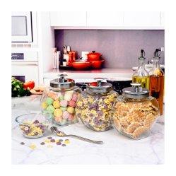 دورق كوب من الزجاج واضح من الدورق حاوية تحتوي على حاويات من الدورق الشهي وعاء زجاجي مطبخ قنينة رواق منضدة سهل إعادة التعبئة قشور كبيرة