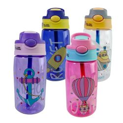 As crianças de pato garrafa de água de plástico de palha vaso desportivo portátil com pega