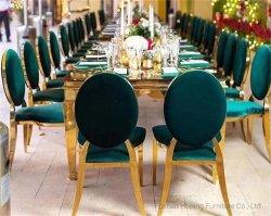 Moderno mobiliario de restaurante evento de metal silla de boda rectangular comedor de banquetes Silla de mesa White Leather Sofá silla de comedor Alta espalda Silla del Rey Trono