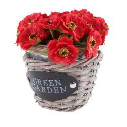 Decoracion cesta de mimbre titular de la flor de la caja de la sembradora Contenedor de suculentas