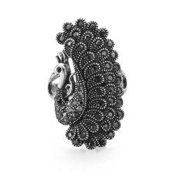 VAGULA型の銀のWenのリングの黒のラインストーンの孔雀の女性指リングS108