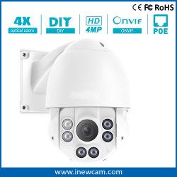 Objectiva varifocal de 4 MP à prova de Velocidade Alta Dome PTZ Camera IP POE
