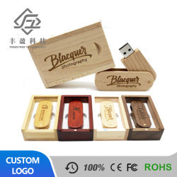 Logo personnalisé bois pivotant pouce lecteur Flash USB de mémoire USB Stick cadeau de plumes