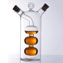 Dd1050 écologique de haute qualité fait main en verre borosilicaté soufflé 2 en 1 bouteille de vinaigre d'huile