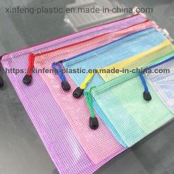 Custom clairement du dossier de Document de maillage en PVC avec fermeture à glissière de Sac de cosmétiques de fournitures de bureaux