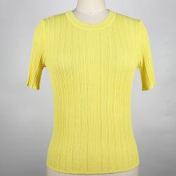 Jaune brillant nervurage irrégulière Mesdames tricoté pull-over de femmes à manches courtes à tricoter Pull col rond