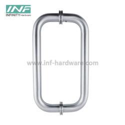 Roestvrijstalen dubbele zijdeur van getemperd glas/houten deurhandgrepen