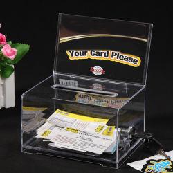 Nombre de acrílico transparente colección de tarjetas de verificación con el bloqueo y firmar la ranura