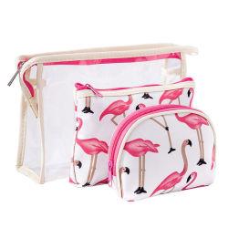 3 في 1 PVC Clear Frosted Flamingo Waterlamo ماكياج السفر حقيبة مستحضرات التجميل للنساء