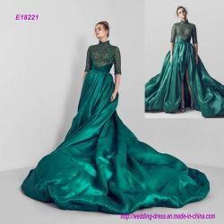 高いカラー半分の袖の夜会服のプロムの服