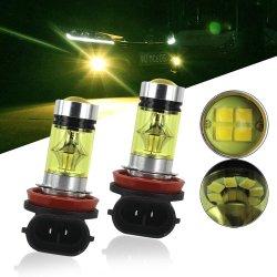 2ПК H8, H11 9005 Hb3 9006 Hb4 автомобиля светодиодная лампа противотуманных фар при движении автомобиля DRL Canbus работает противотуманного фонаря 20Индикатор 2835 100W 12V белый зеленый желтый