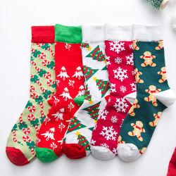 綿のクリスマスのソックスの女性は新しい秋の冬の新年のサンタクロースのクリスマスツリーの雪のオオシカのギフトの幸せなソックスを&Men