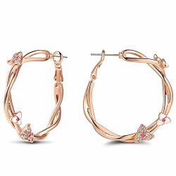 Couleur or rose fleur de lierre Twining rotin Clip sur le cerceau Circle Earrings
